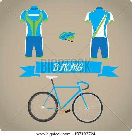 Biking objects Sport uniform Vector illustration, biking uniform
