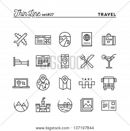 Travel flight accommodation destination booking and more thin line icons set vector illustration