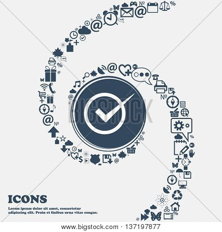 Check Mark Sign Icon. Checkbox Button In The Center. Around The Many Beautiful Symbols Twisted In A