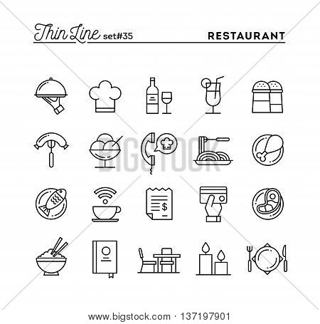 Restaurant phone ordering meal receipt and more thin line icons set vector illustration