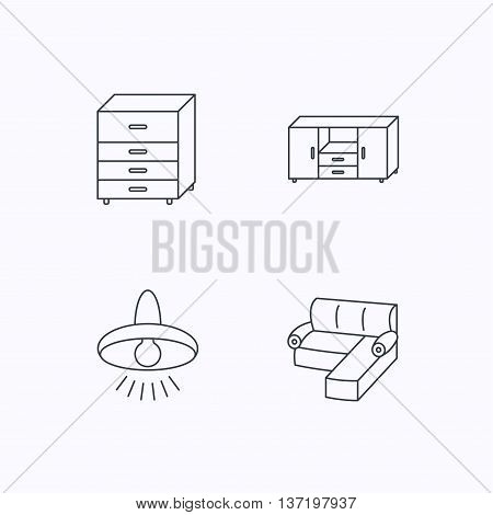 Corner sofa, ceiling lamp and chest of drawers icons. Furniture linear signs. Flat linear icons on white background. Vector