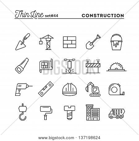 Construction building project tools and more thin line icons set vector illustration
