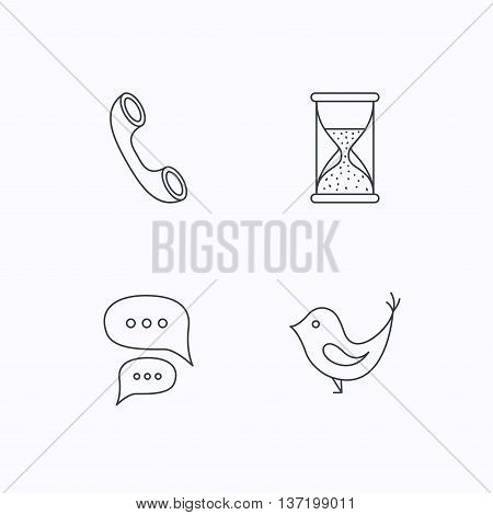 Chat, bird and phone call icons. Hourglass linear sign. Flat linear icons on white background. Vector