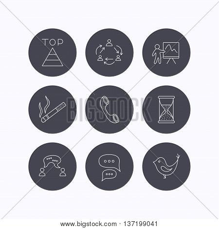 Teamwork, presentation and phone call icons. Chat speech bubble, hourglass and bird linear signs. Smoking, pyramid icons. Flat icons in circle buttons on white background. Vector