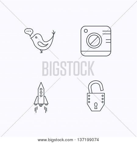 Photo, social media and rocket icons. Open lock linear sign. Flat linear icons on white background. Vector