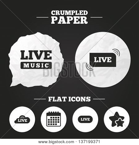 Crumpled paper speech bubble. Live music icons. Karaoke or On air stream symbols. Cloud sign. Paper button. Vector