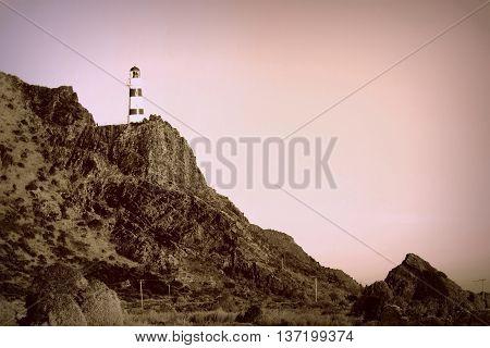 Lighthouse at Dusk Cape Palliser, North Island, New Zealand