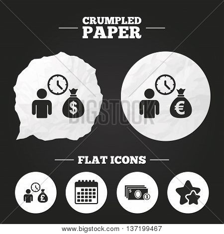 Crumpled paper speech bubble. Bank loans icons. Cash money bag symbols. Borrow money sign. Get Dollar money fast. Paper button. Vector