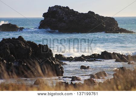 coastal rocks at Cape Palliser, North Island, New Zealand