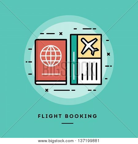 Flight booking flat design thin line banner usage for e-mail newsletters web banners headers blog posts print and more