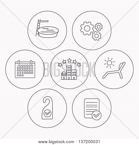 Hotel, swimming pool and beach deck chair icons. Clean room linear sign. Check file, calendar and cogwheel icons. Vector