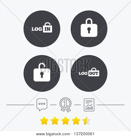 Login and Logout icons. Sign in or Sign out symbols. Lock icon. Chat, award medal and report linear icons. Star vote ranking. Vector
