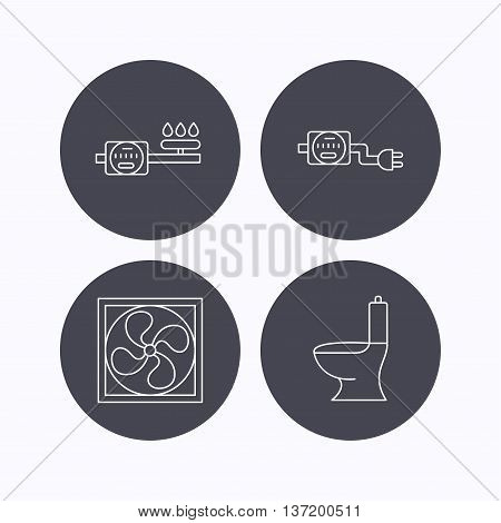 Ventilation, toilet and gas counter icons. Electricity counter linear sign. Flat icons in circle buttons on white background. Vector