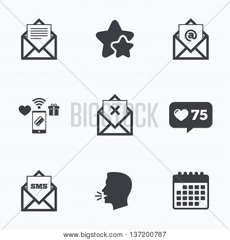 Mail envelope icons. Message document symbols. Post office letter signs. Delete mail and SMS message. Flat talking head, calendar icons. Stars, like counter icons. Vector