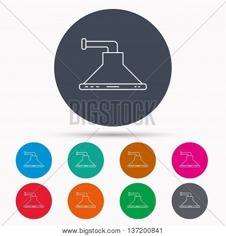 Kitchen hood icon. Kitchenware equipment sign. Icons in colour circle buttons. Vector