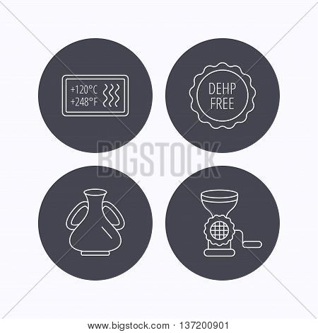 Meat grinder, vase and heat-resistant icons. DEHP free linear sign. Flat icons in circle buttons on white background. Vector