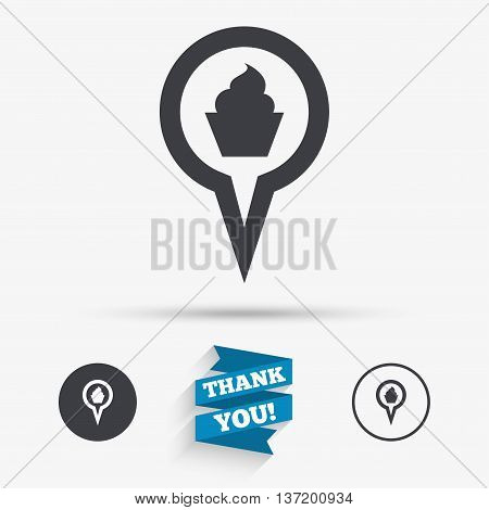 Map pointer food sign icon. Restaurant location marker symbol. Flat icons. Buttons with icons. Thank you ribbon. Vector