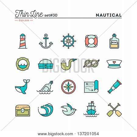Nautical sailing sea animals marine and more thin line color icons set vector illustration