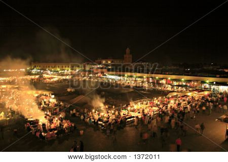 Bustling Square In Marrakech At Night