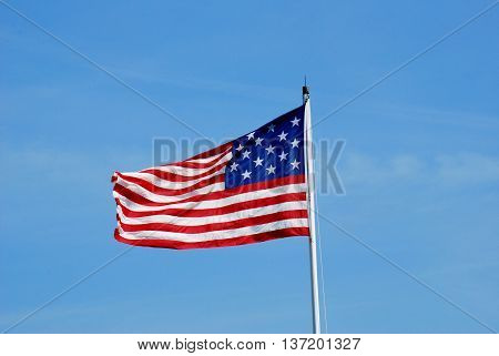 Fifteen Star United States of America flag flying over Fort Moultrie on Sullivan's Island, South Carolina