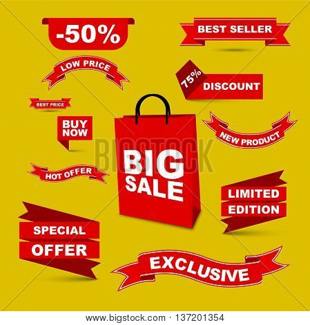 This is vector set red ribbons - big sale/ hot offer/ special offer/low price/ buy now/ best price/ best seller/ discount/ new product/ liited edition/ exclusive