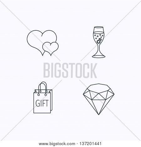 Love heart, gift box and wedding ring icons. Brilliant and engagement linear signs. Flat linear icons on white background. Vector