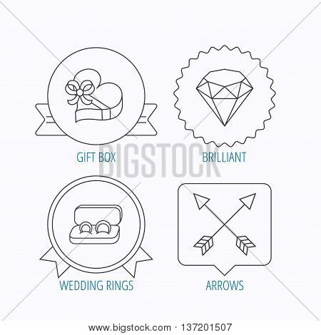 Brilliant, gift box and wedding rings icons. Arrows linear signs. Award medal, star label and speech bubble designs. Vector