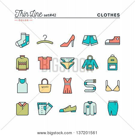 Clothing thin line color icons set vector illustration