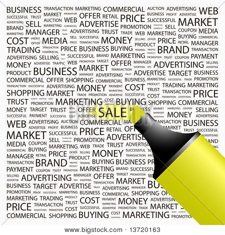 SALE. Highlighter over background with different association terms. Vector illustration.