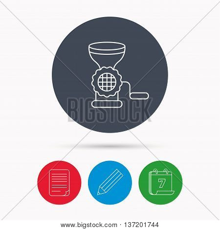 Meat grinder icon. Manual mincer sign. Kitchen tool symbol. Calendar, pencil or edit and document file signs. Vector