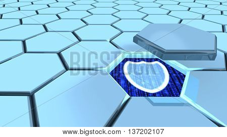 Hexagon grid in blue one piece flying above revealing a shield 3D illustration security concept