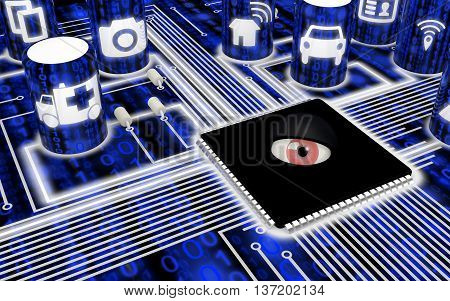 Closeup of a circuit board with IOT symbols and a spying eye on the main chip 3D illustration