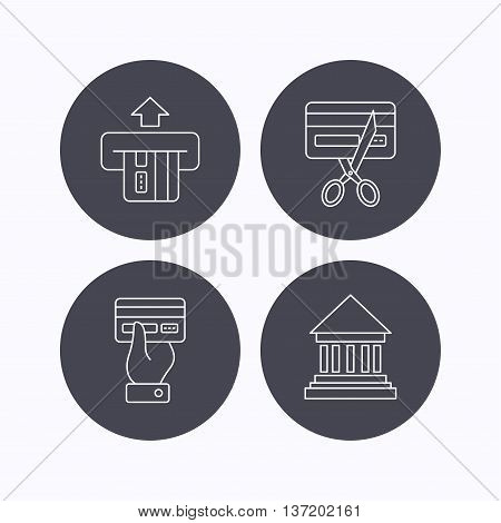 Bank credit card, expired card icons. Give credit card linear sign. Flat icons in circle buttons on white background. Vector