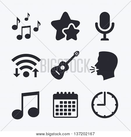 Music icons. Microphone karaoke symbol. Music notes and acoustic guitar signs. Wifi internet, favorite stars, calendar and clock. Talking head. Vector