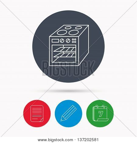 Oven icon. Electric stove sign. Calendar, pencil or edit and document file signs. Vector