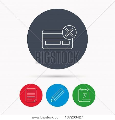 Remove credit card icon. Shopping sign. Calendar, pencil or edit and document file signs. Vector