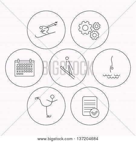 Diving, figure skating and skiing icons. Ski jumping linear sign. Check file, calendar and cogwheel icons. Vector
