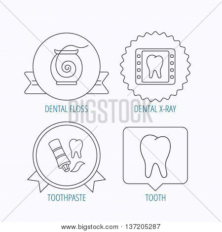 Dental floss, tooth and toothpaste icons. Dental X-ray linear sign. Award medal, star label and speech bubble designs. Vector