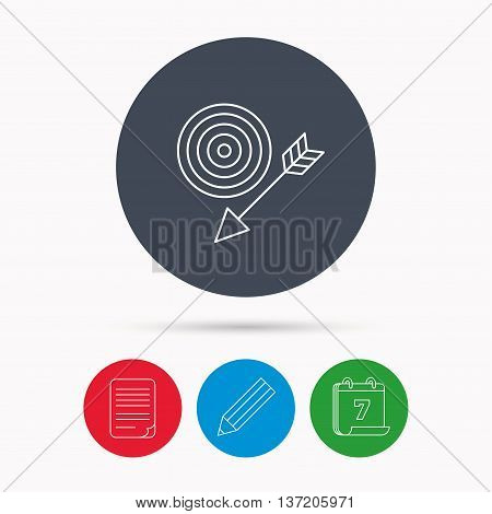 Target with arrow icon. Dart aim sign. Calendar, pencil or edit and document file signs. Vector