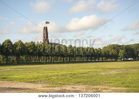 Overview of City Park Malieveld in the Hague the Netherlands with Building the Rode Olifant on the Background