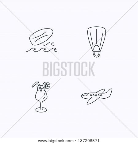 Surfboard, waves and cocktail icons. Flippers, airplane linear sign. Flat linear icons on white background. Vector