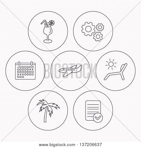 Airplane, deck chair and cocktail icons. Palm tree linear sign. Check file, calendar and cogwheel icons. Vector