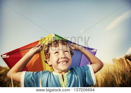 Kite Boy Beach Playful Summer Travel Flying Concept