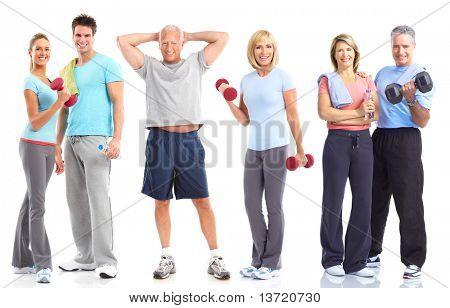 Gymnastik, Fitness, Gesundes Leben. Lächelnde Menschen. Over white background