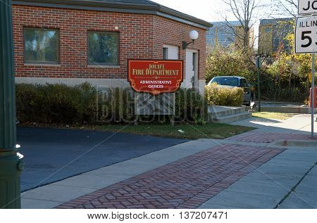 JOLIET, ILLINOIS / UNITED STATES - NOVEMBER 1, 2015: The administrative offices of the Joliet Fire Department are in a brick building in downtown Joliet.