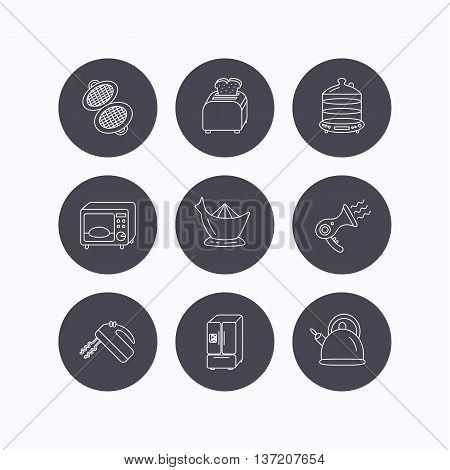 Microwave oven, teapot and blender icons. Refrigerator fridge, juicer and toaster linear signs. Hair dryer, steamer and waffle-iron icons. Flat icons in circle buttons on white background. Vector