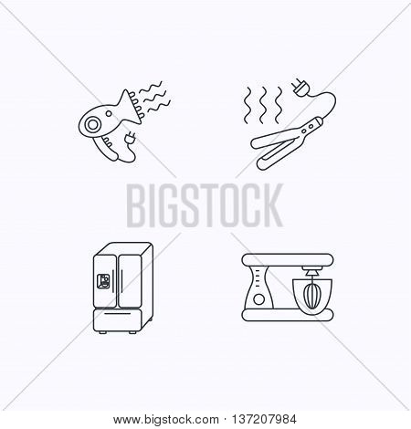Curling iron, hair dryer and blender icons. American style fridge linear sign. Flat linear icons on white background. Vector