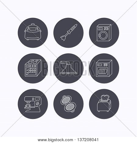 Dishwasher, washing machine and blender icons. Kitchen hood, coffee maker and toaster linear signs. Oven, multicooker and waffle-iron icons. Flat icons in circle buttons on white background. Vector