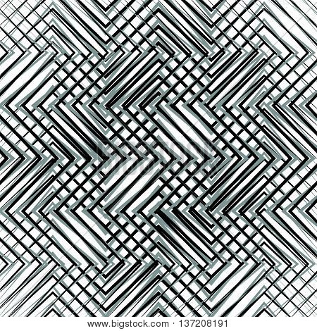 Grid, Mesh, Of Zigzag, Edgy Lines. Mosaic Like Grill, Grating Background. Seamlessly Repeatable Abst