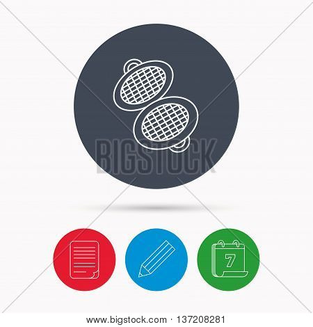 Waffle iron icon. Kitchen baking tool sign. Calendar, pencil or edit and document file signs. Vector